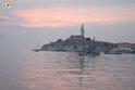 Sunset over Rovinj town center